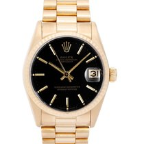 Rolex Midsize President 18K Yellow Gold Black Dial Watch 68278