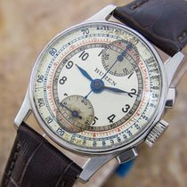 Buren Chronograph Rare Manual Stainless Steel Mens 1940s...