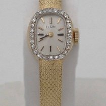 Elgin Ladies Elgin 14k Yellow Gold Diamond Mesh Textured Satin...