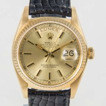 Rolex Day-Date President 18K Yellow Gold & Black Strap...