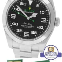 Rolex Air-King 40mm Green Yellow Black Arabic Stainless Steel