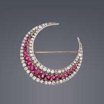 Antique Ruby&Diamond Crescent Brooch