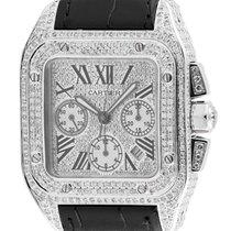 Cartier Santos 100 XL Chronograph Custom Diamond Set Watch...