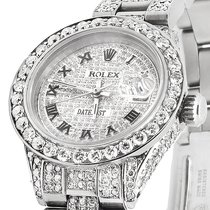 Rolex Ladies Rolex Datejust Oyster 27MM Full Iced Out Roman...