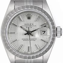 Rolex Ladies Rolex Date Watch 69240 Silver Tapestry Dial