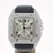 Cartier Santos 100 XL Steel Chrono AFTERSETtopDIAMONDS...