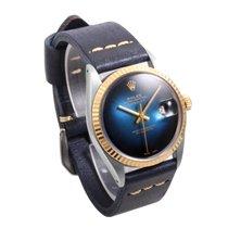 Rolex 18K/SS 36mm DATEJUST Blue Vignette Dial w/ Blue Leather...