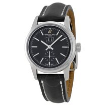 Breitling Transocean 38 Black Dial Black Leather Watch
