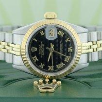Rolex Datejust Ladies 2-Tone Factory Black Pyramid Roman Dial...