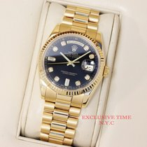 Rolex Day Date 36mm Factory Black Diamond Dial Yellow Gold