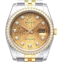Rolex Datejust 36 Edelstahl Gelbgold Diamant 116243 Champ J...