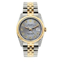 Rolex Date Unisex 34mm Gray Dial Gold And Stainless Steel Bracele