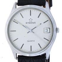 Eterna Quartz Date Silver Colour Dial  Leather Quarz