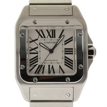 Cartier Santos 100 Large W200737G Stainless Steel White...