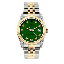 Rolex Date Unisex 34mm Green Dial Gold And Stainless Steel...