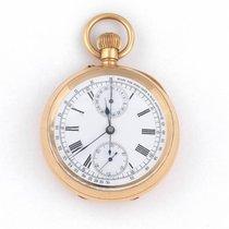 Swiss Gold Keyless Wind Open Face Chronograph Pocket Watch