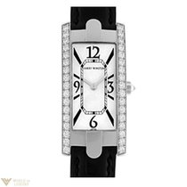 Harry Winston Avenue C Captive 18K White Gold Black Leather...
