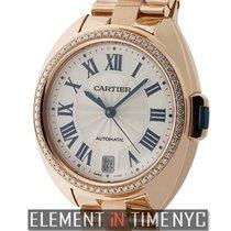 Cartier Cle De Cartier 35mm Ladies 18k Rose Gold Diamond Bezel...