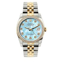 Rolex Datejust Men's 36mm Blue Mother Of Pearl Dial Yellow...