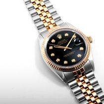 Rolex 18K/SS  Datejust Black Diamond Dial 36mm Quickset