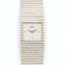 Piaget White Gold Emperador Diamond Emerald Bracelet Watch