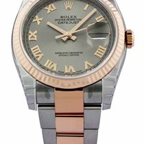 Rolex Datejust 36 Steel Dial Roman Fluted 18ct Rosegold Oyster...