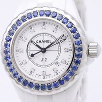 Chanel J12 12p Diamond Custom Sapphire Bezel Ceramic Ladies...