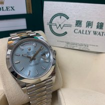 Rolex Cally - 228206 Day Date 40MM Platinum Ice Blue Stick Dial