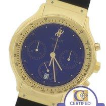 Hublot 18K Yellow Gold Blue Chronograph 36mm Black Rubber Watch