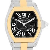 Cartier Roadster Steel Yellow Gold Black Dial Mens Watch W62031y4