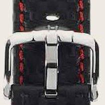 Hirsch Uhrenarmband Leder Carbon schwarz / rot L 02592052-2-18...