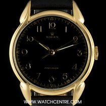 Rolex 18k Y/Gold Black Dial Tear Drop Lugs Precision Vintage 4844