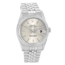 Rolex Datejust Silver Baton Dial Steel White Gold 36mm Watch...