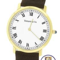 Tiffany Slim Thin 18K Yellow Gold White Roman Brown Quartz 33mm