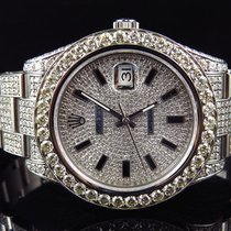 Rolex Mens Full Iced 41 MM 116300 Rolex Date Just II 2 With...