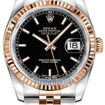 Rolex Datejust 36mm Stainless Steel and Rose Gold 116231 Black...