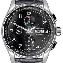 Hamilton JAZZMASTER MAESTRO AUTO CHRONO Total Black Leather Strap