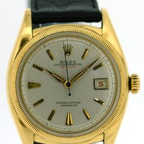 Rolex 18k Datejust Bubble Back, Guilloche Dial, Ref: 6105
