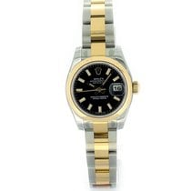 Rolex Lady Datejust 26mm 179163 Black Baton Dial