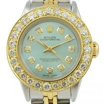 Rolex Ladies Rolex Teal Blue Diamond Dial 2.5 Carat Bezel...
