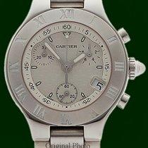 Cartier Chronoscaph 21 Medium Chrono Stainless Steel White Dial