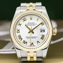 Rolex 179173 Lady Datejust White Roman Dial 18K / SS (26335)