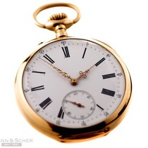 Antique Pocket Watch Open Face 18k Rose Gold Enamel Dial Bj-1920