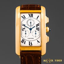Cartier Tank Americaine Chronoflex 18K Gold Chronograph Box...