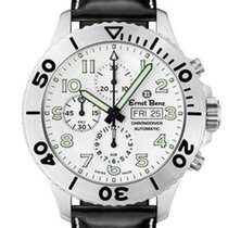 Ernst Benz Chronodiver 47mm White Dial Black Leather Band...