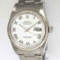 Rolex Mens Datejust Stainless Steel White Roman Dial Automatic...