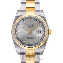 Rolex Datejust Silver Steel/18k gold Oyster Ø36mm - 116233