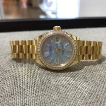 Rolex Datejust 28mm 18ct Yellow Diamond Cornflower Blue