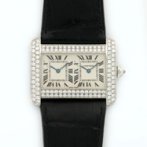 Cartier Tank Divan White Gold Dual Time Zone Diamond Watch
