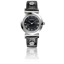 Versace Montre Vanity 35 mm Bracelet Cuir Noir Cadran Noir...
